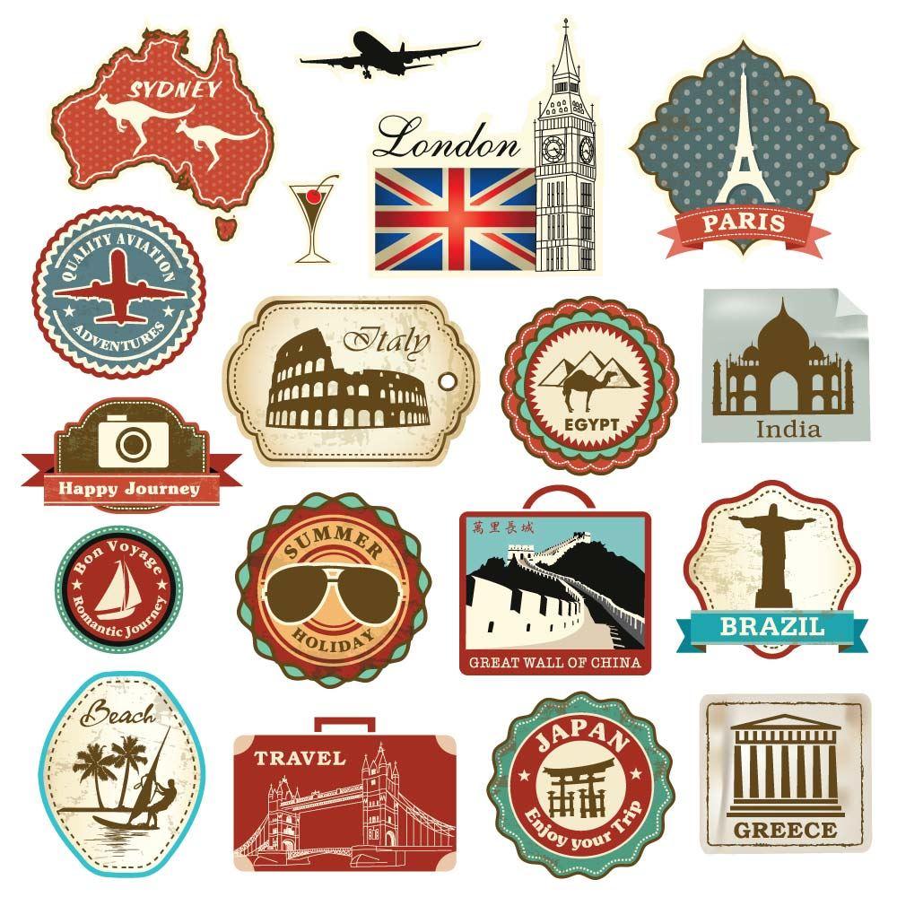 Retro Vintage Travel Suitcase Stickers - Set of 18 Luggage ...