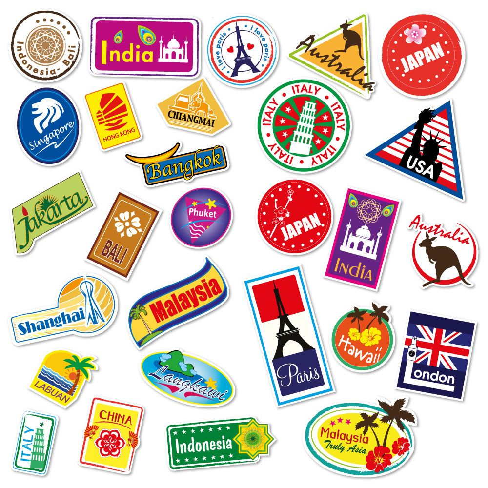 World travel locations suitcase stickers set of 28 for Auto collant mural