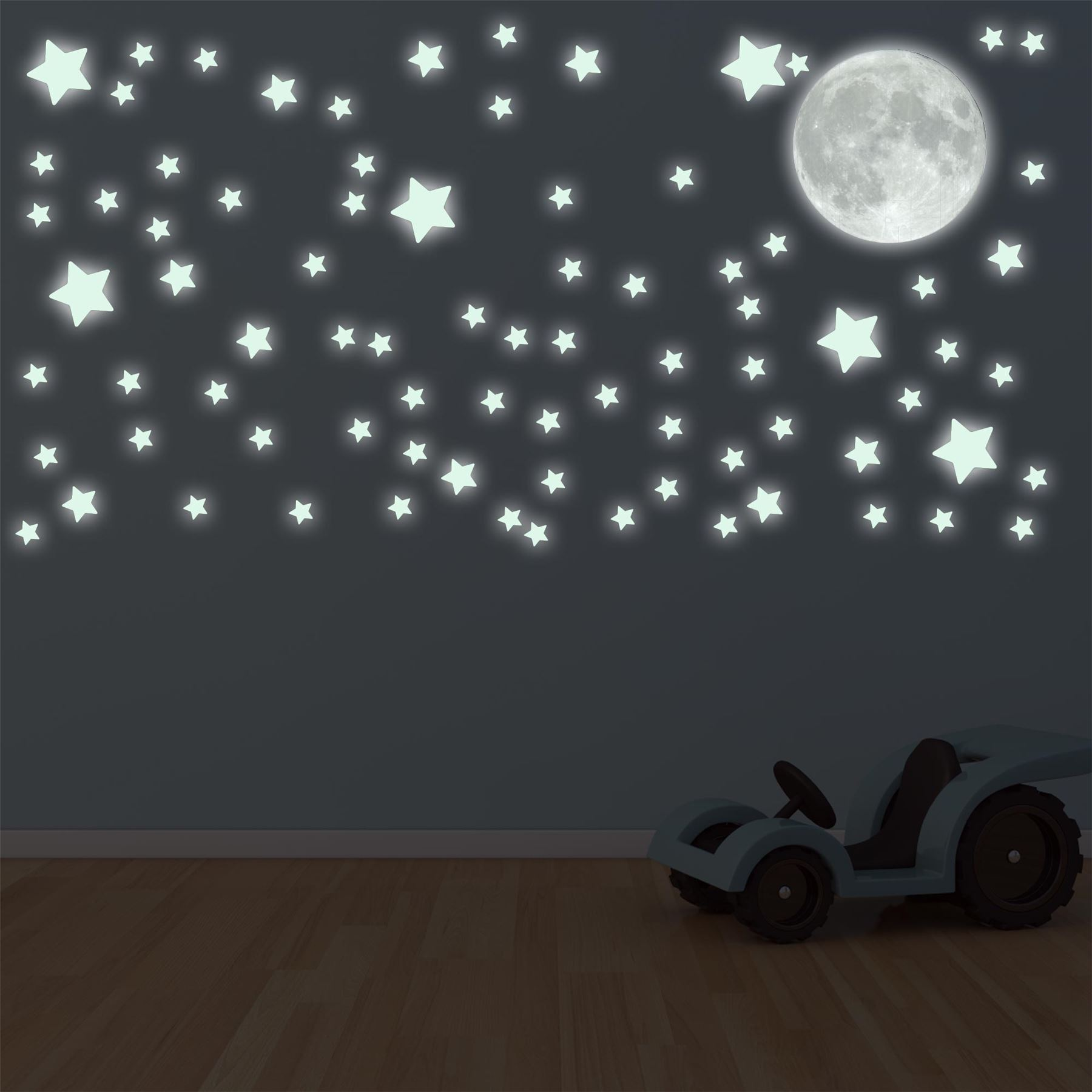 glow in the dark moon and stars wall sticker decal ebay. Black Bedroom Furniture Sets. Home Design Ideas