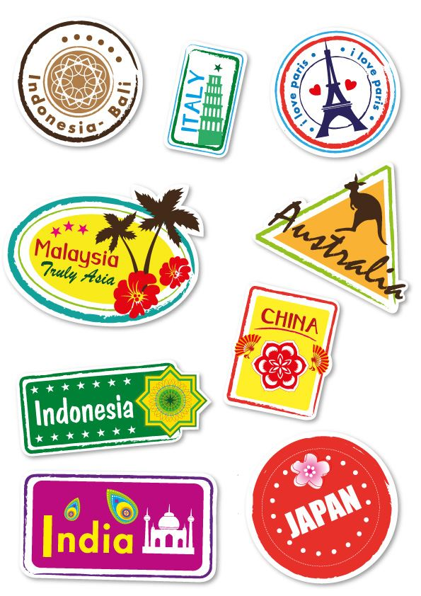 World Travel Locations Suitcase Stickers Set Of 9