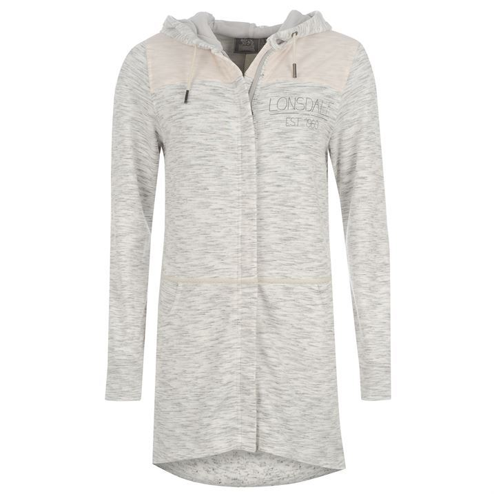 Lonsdale Womens Box Long Zipper Hoodie Chest Logo Cotton Hooded ...