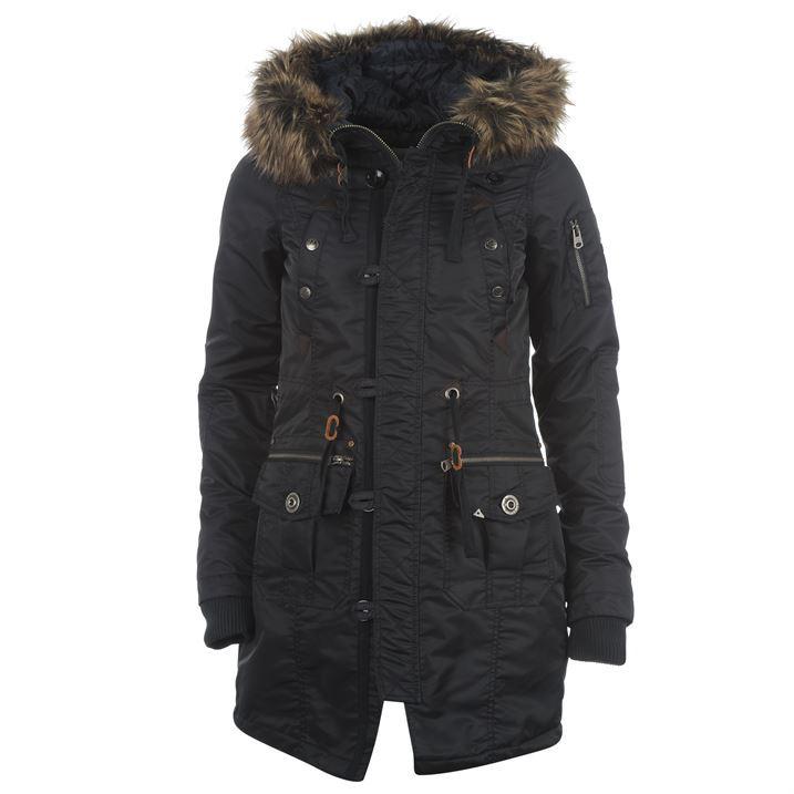 0e2fee2b1 SoulCal Womens Ladies Nylon Parka Full Length Long Zip Jacket ...