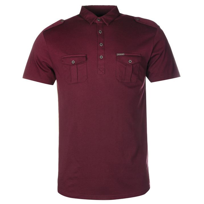 Firetrap gents mens double pocket polo shirt regular for Mens double pocket short sleeve shirts