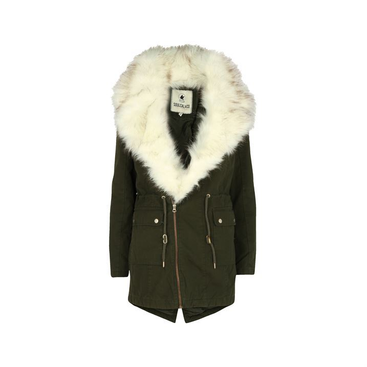 SoulCal Womens Parka Biker Jacket Fleece Faux Fur Collar Warm Coat ...