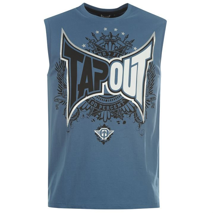 Tapout mens foil tank top vest sleeveless graphic printed for Sleeveless graphic t shirts