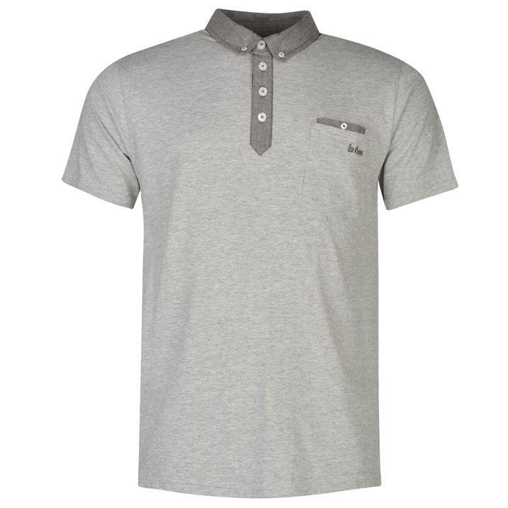 Lee Cooper Mens Chambray Polo Shirt Lightweight Short