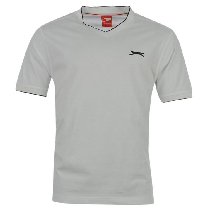 Slazenger-Mens-Small-V-Neck-Colar-Short-Sleeve-Plain-Casual-T-Shirt-Tee-Top