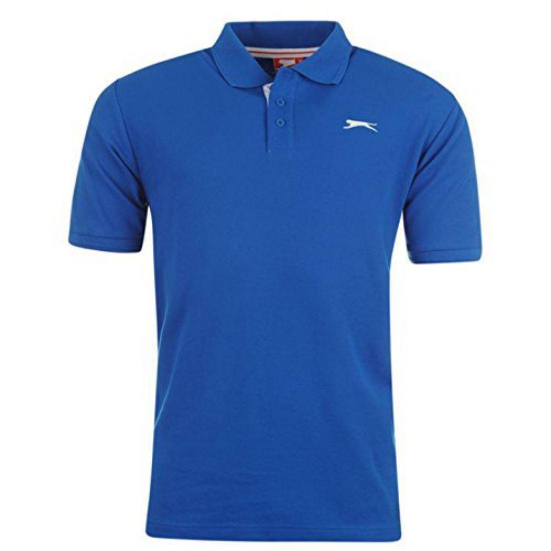 Slazenger Mens Clothing Short Sleeve Plain Polo Shirt Fashion Top
