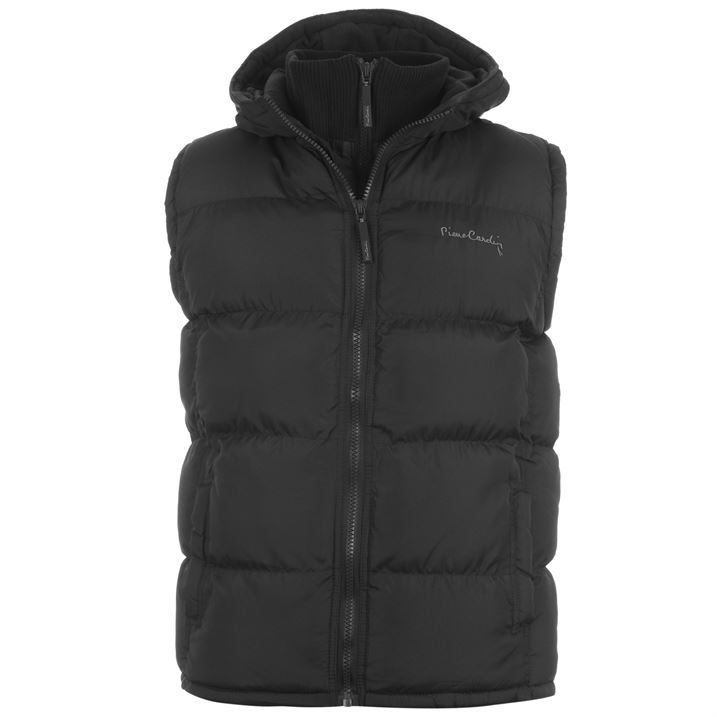 Pierre Cardin Mens Zip Hooded Gilet Sleeveless Outerwear Casual Fashion Top