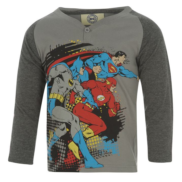 Dc Comics Kids Long Sleeve T Shirt Infant Boys Y Neck: boys superhero t shirts