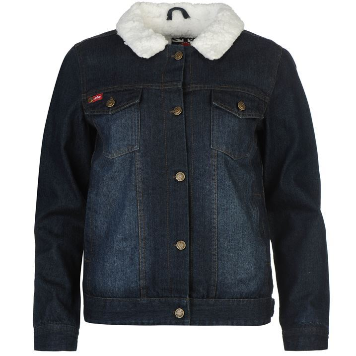 Lee Cooper Womens Lined Denim Jacket Warm Button Front Collar Neck Top Coat
