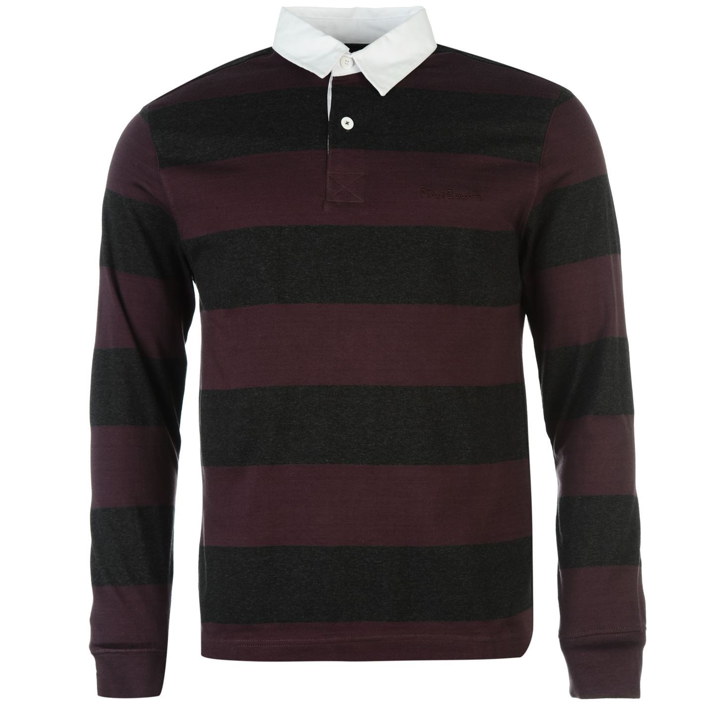pierre cardin mens rugby polo t shirt long sleeve collar. Black Bedroom Furniture Sets. Home Design Ideas