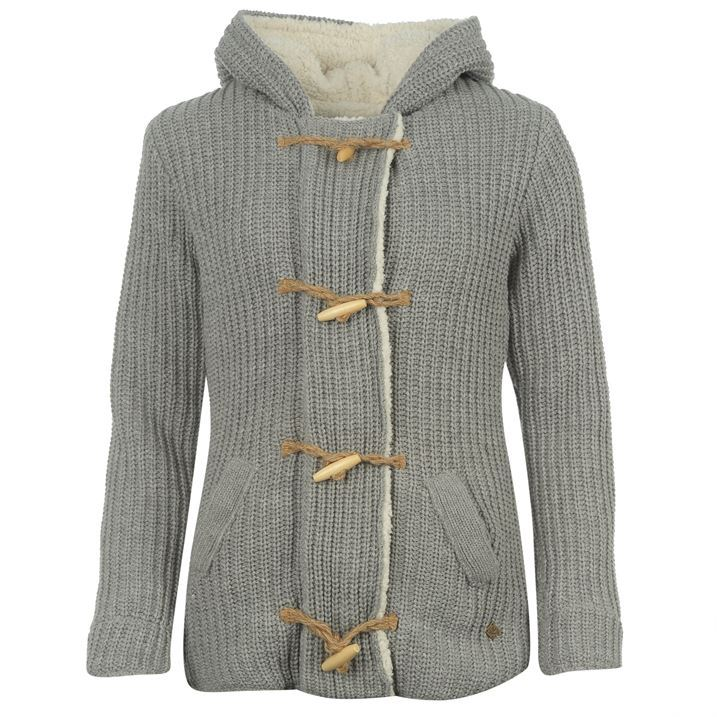 SoulCal Womens Ladies Long Toggle Knitted Cardigan Knitwear Zip Toggle Hooded...