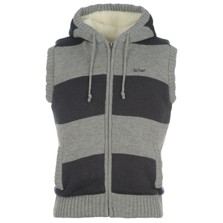 Lee Cooper Mens Lined Knit Gilet Body Warmer Faux Wool Hood Sleeveless Jacket