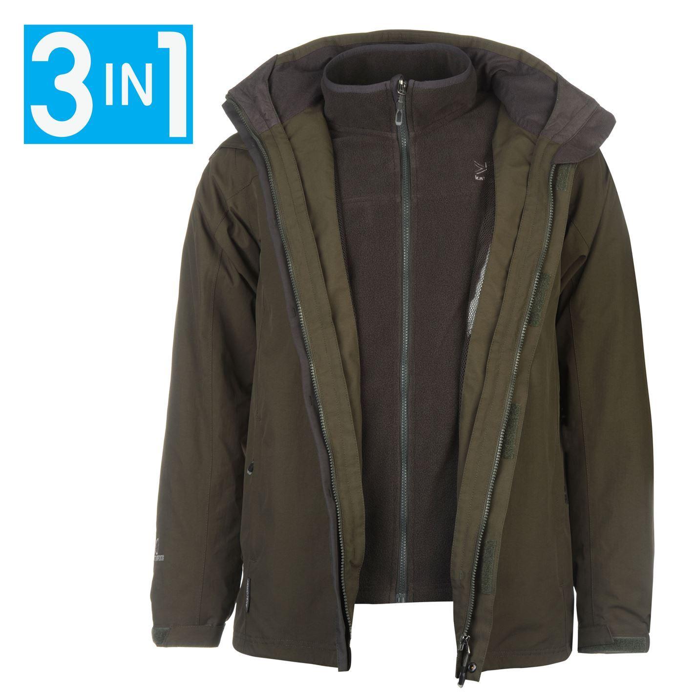 Karrimor mens 3in1 jacket mesh lining concealable hood water resistant