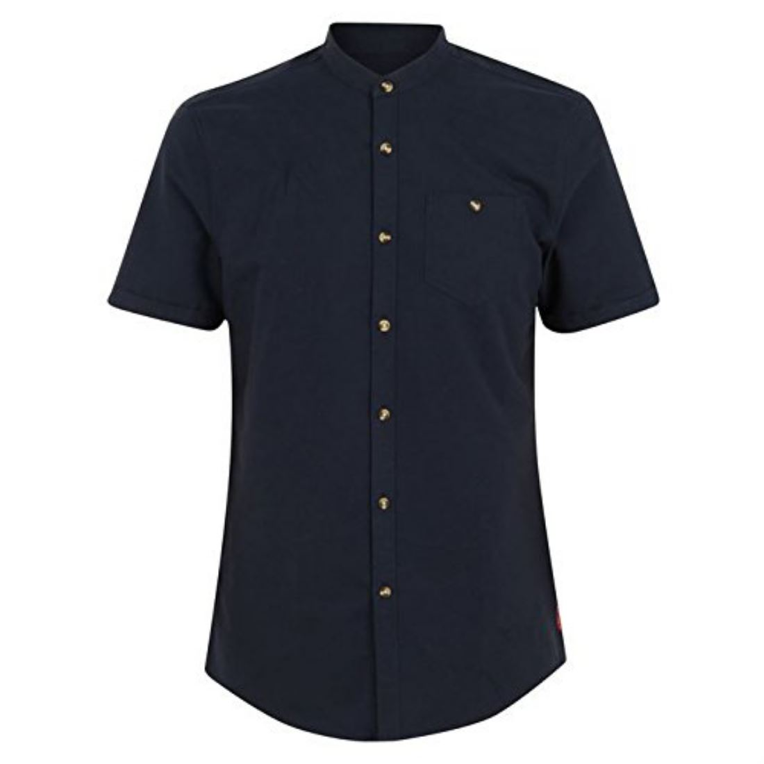 Soviet mens grandad collar shirt short sleeves top button for Short sleeve grandad shirt