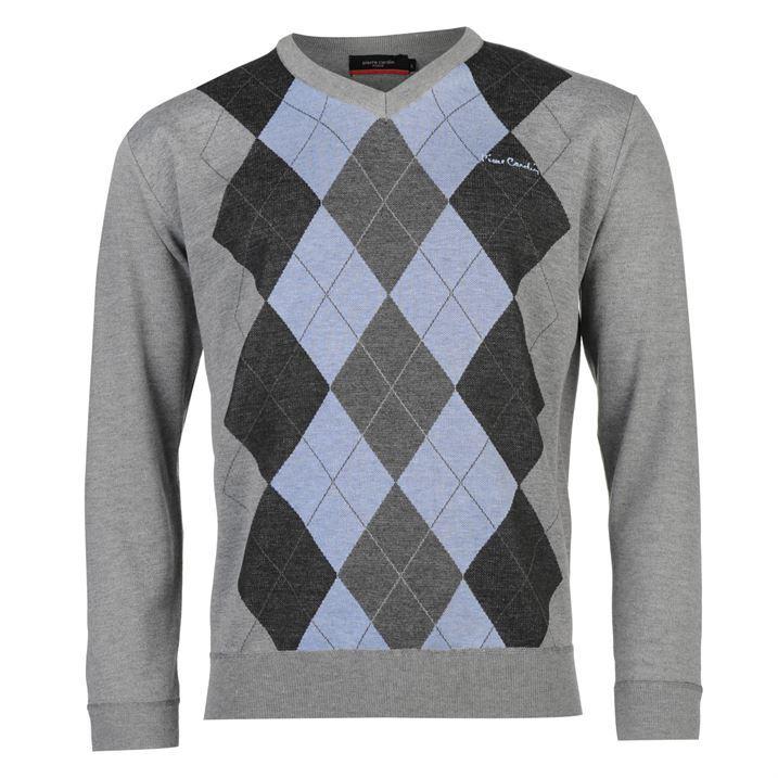 Knitting Pattern For V Neck Jumper : Pierre Cardin Mens Argyle Knit Jumper Pattern Pullover Long Sleeve V Neck Top...