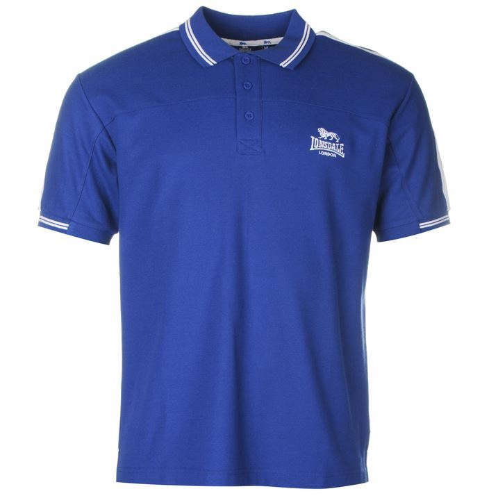 lonsdale mens 2 stripe polo t shirt sleeve classic