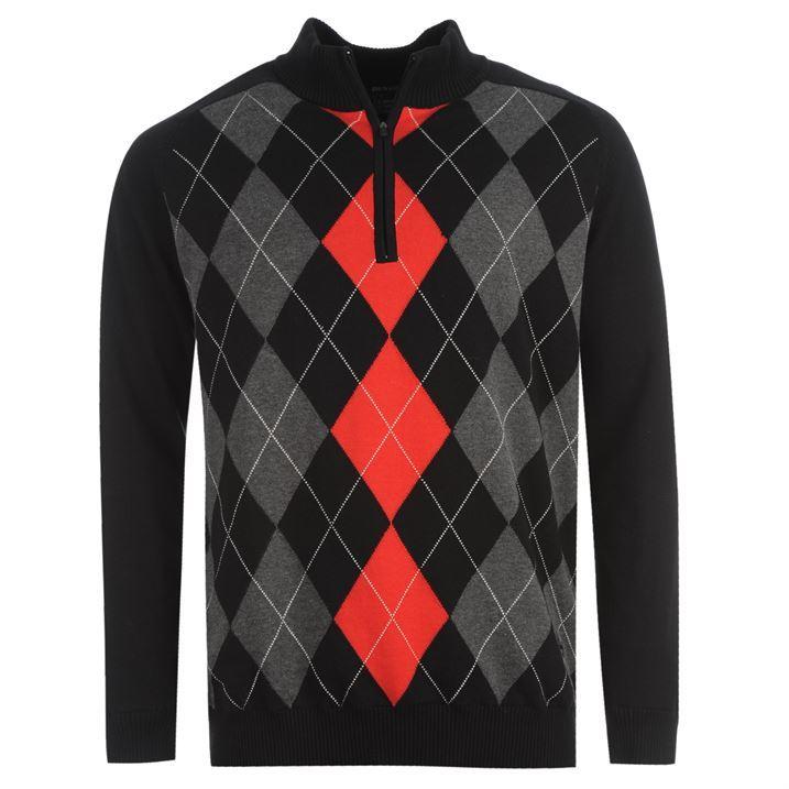 Dunlop Mens Long Sleeve High Neck Zip Pullover Golf Top Sweater New