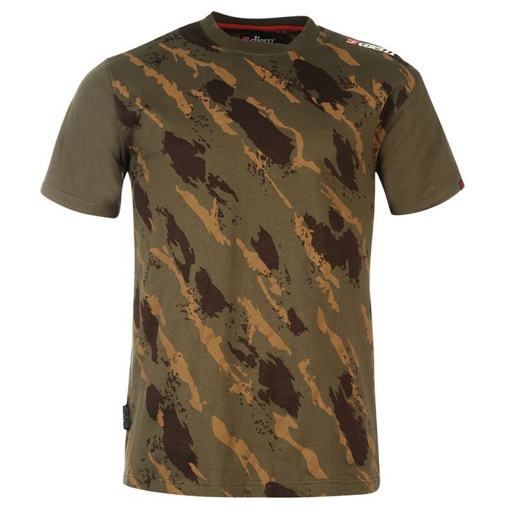 Diem mens recon tee short sleeve cotton t shirt top for Best fishing clothing