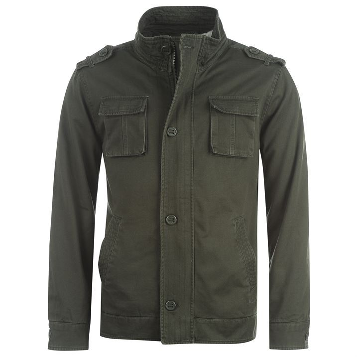 Lee-Cooper-Mens-Desert-Jacket-Military-Style-Fleece-Inside-High-Collar-Menswear