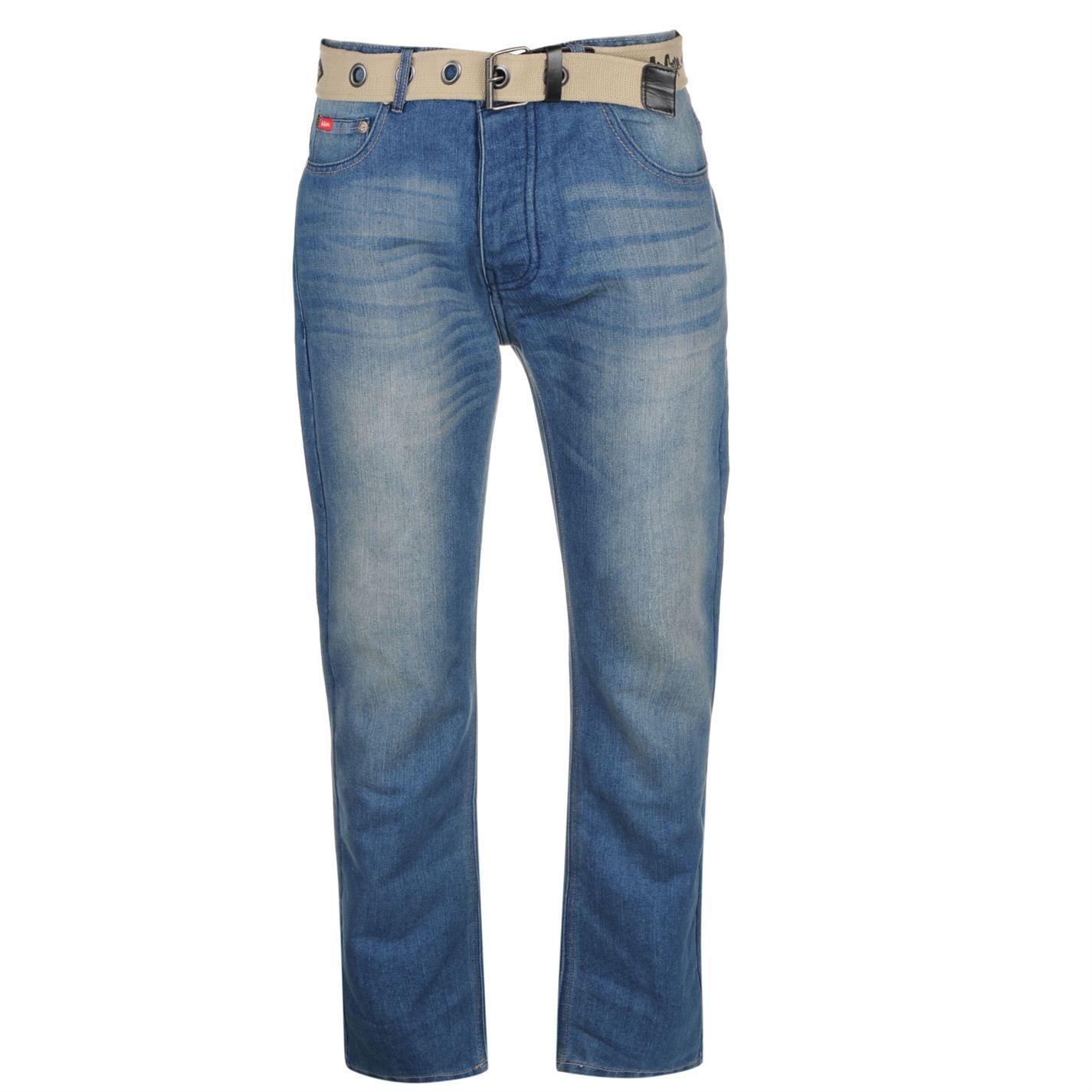 lee cooper mens belted jeans pants bottoms denims ebay. Black Bedroom Furniture Sets. Home Design Ideas
