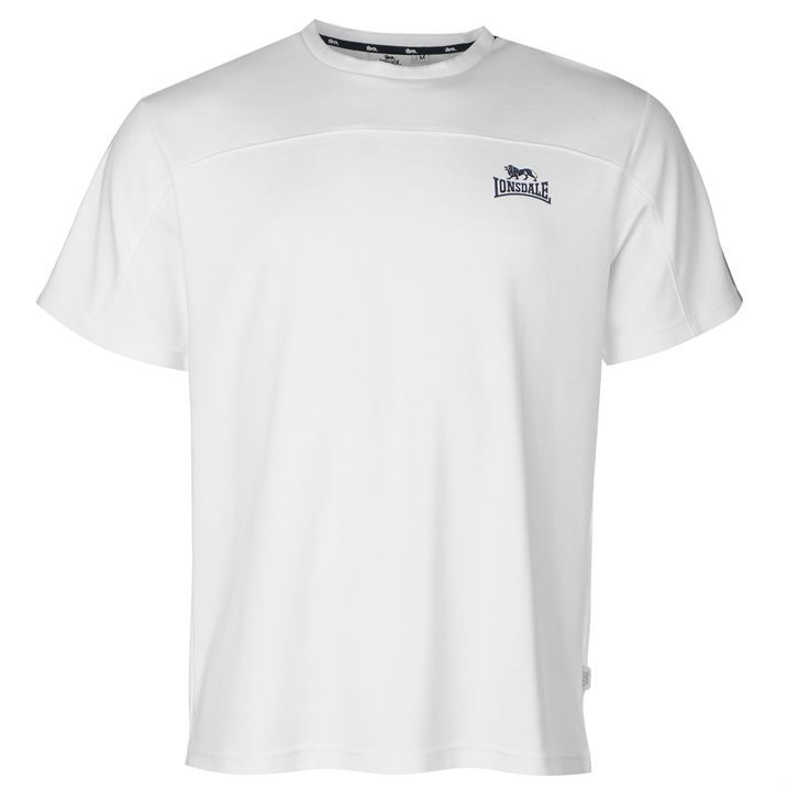 lonsdale mens 2 stripe sleeve t shirt crew neck