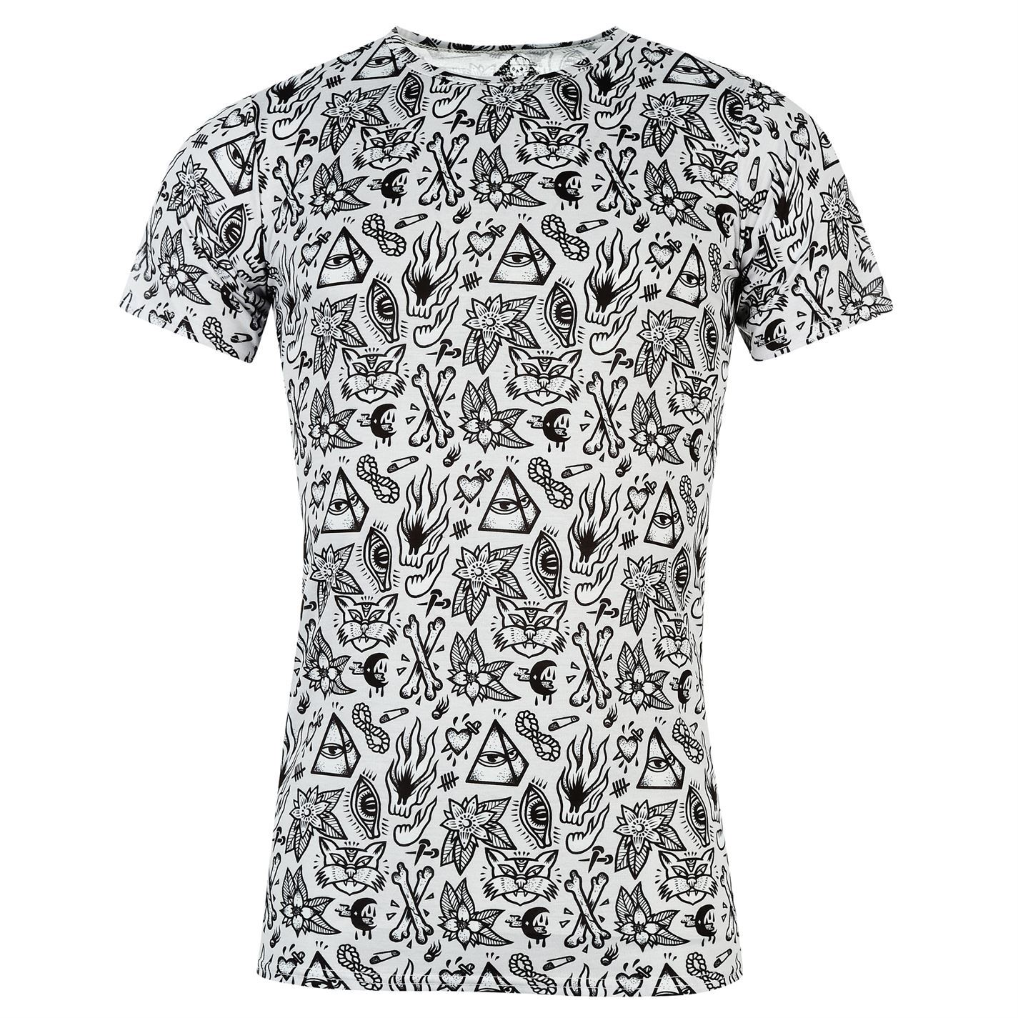 No Masters Mens Over Print T Shirt Short Sleeve Round Neck Tee Top Clothing