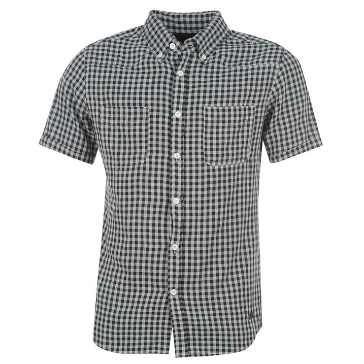 Kangol mens check print short sleeve shirt button down for Best short sleeve button down shirts reddit