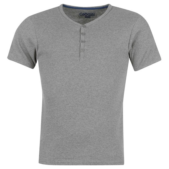 Giorgio mens gents v neck short sleeve ribbed three button for Mens ribbed t shirts