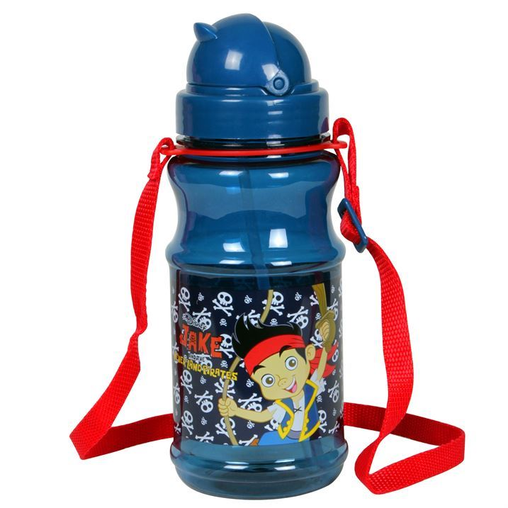 Water Bottle With Strap: Character Kids Childrens Adjustable Strap Flip Top Twist