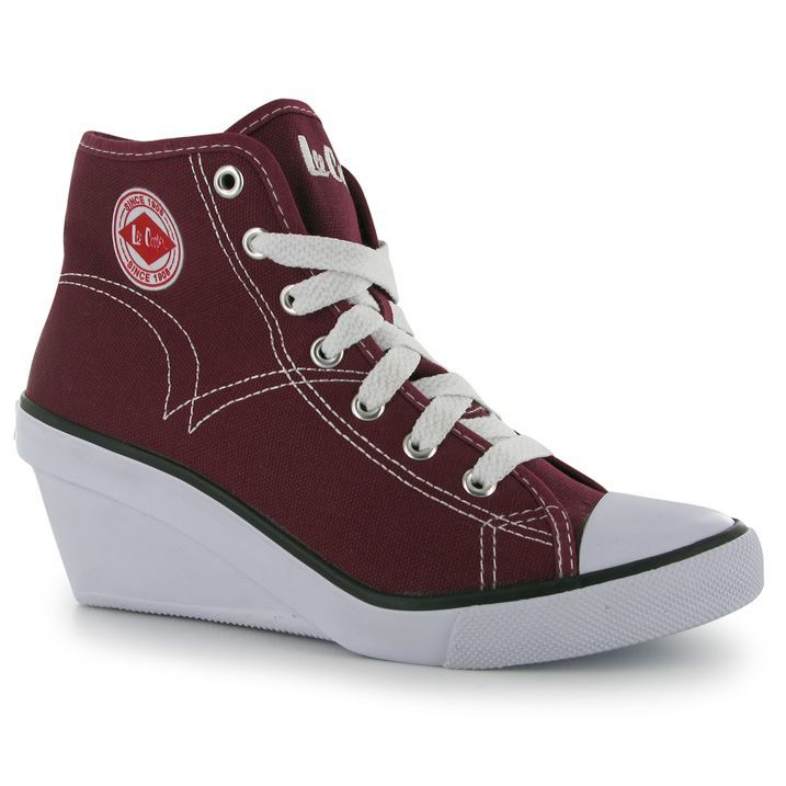 Details about Lee Cooper Womens Cooper Canvas Wedge Ladies Shoes Laces ...