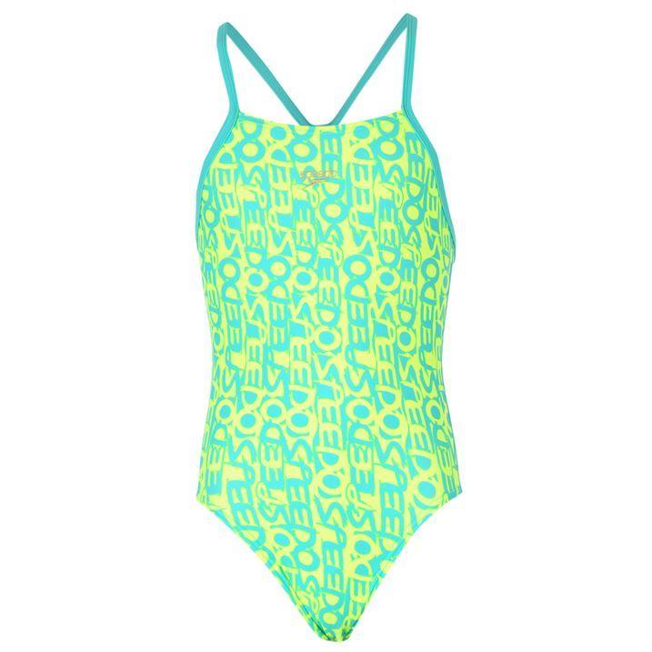 Speedo Kids Junior Girls Text Racerback Swimsuits Swimwear ...