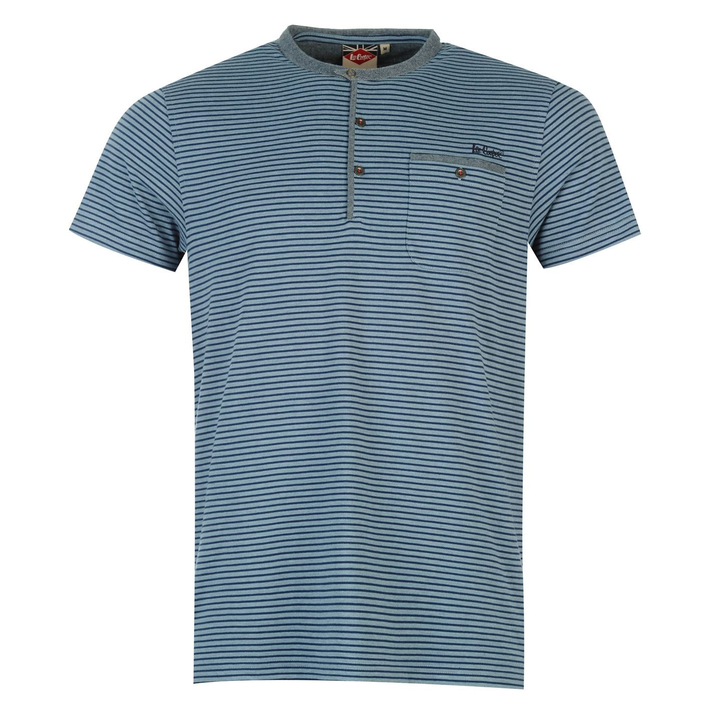 Lee cooper mens champion short sleeve striped granddad t for Best striped t shirt