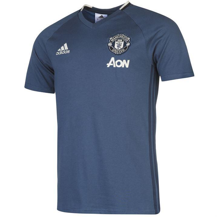 adidas mens manchester united t shirt short sleeve football sports training top ebay. Black Bedroom Furniture Sets. Home Design Ideas