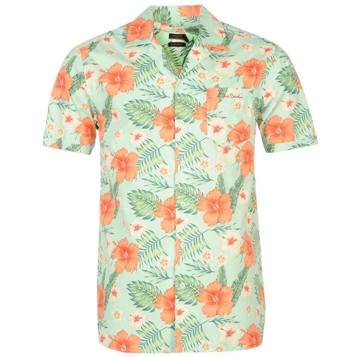 Pierre Cardin Mens Floral Shirt Short Sleeve Button