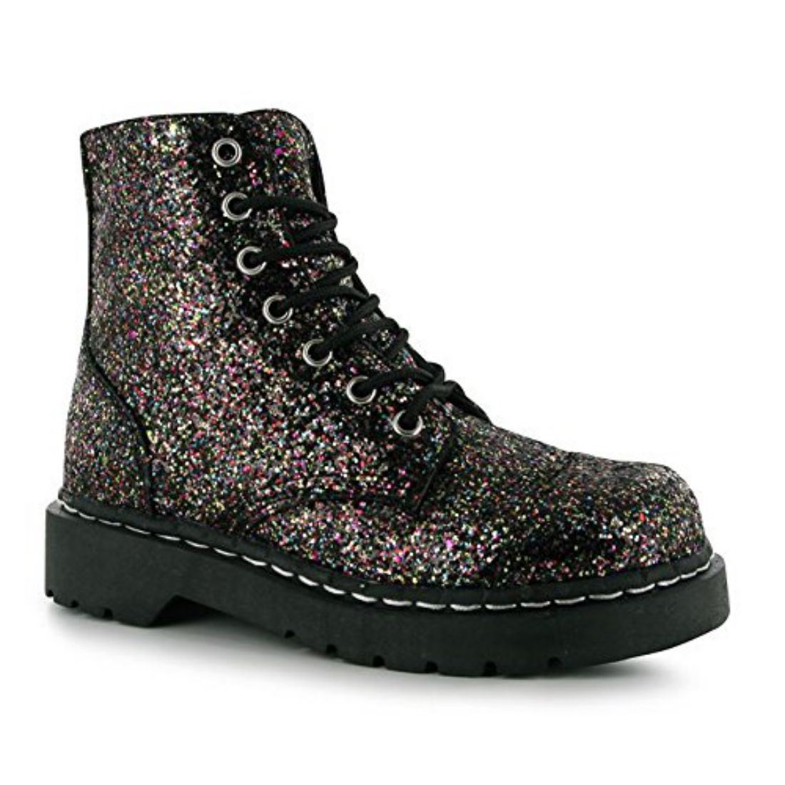 TUK Womens 7 Eye Glitter Boots Ladies Lace Up Zip Fastening Casual Shoes