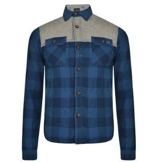 Scotch-And-Soda-Mens-Quilted-Checked-Cotton-Shirt-Long-Sleeved-Two-Pockets