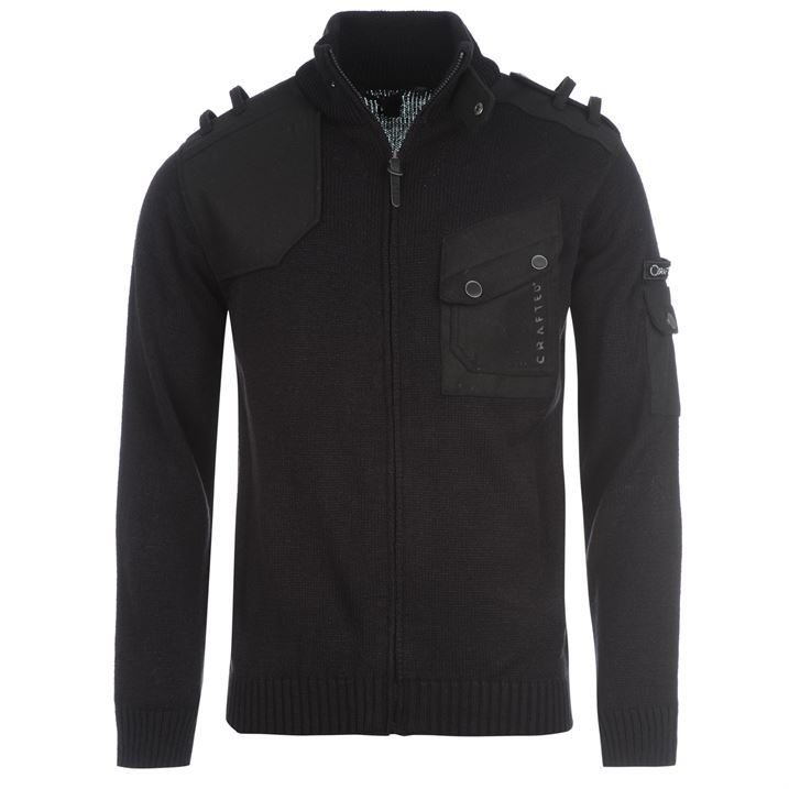 Crafted Mens Pocket Full Zip Knitted Jacket Pockets Collared Neckline Sweater
