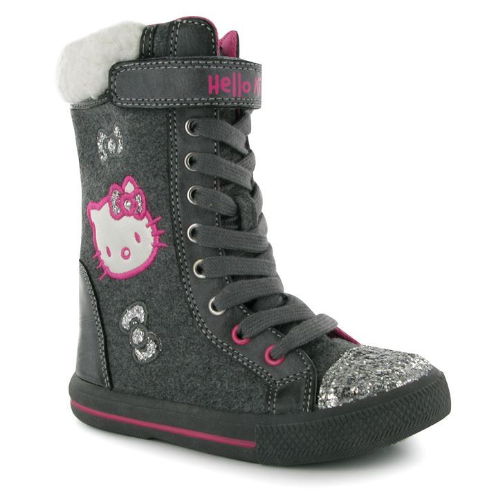 Hello Kitty Kids Lace Childrens Boots Girls Glitter Toe Cap Faux ...
