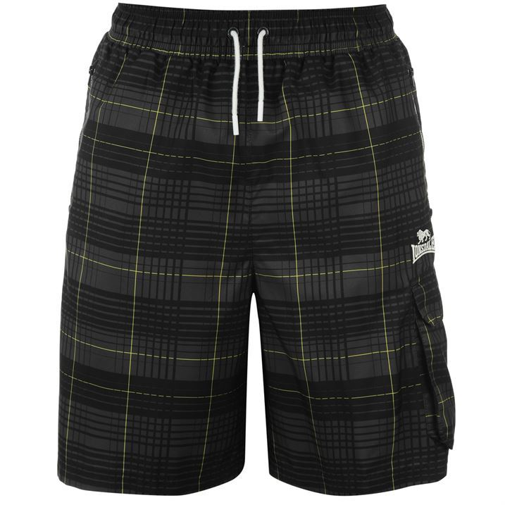 lonsdale mens gents 2 stripe checked shorts