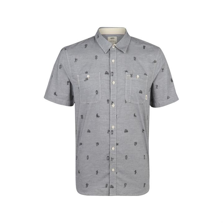 Vans mens guilderii printed shirt double chest pockets for Mens double pocket short sleeve shirts