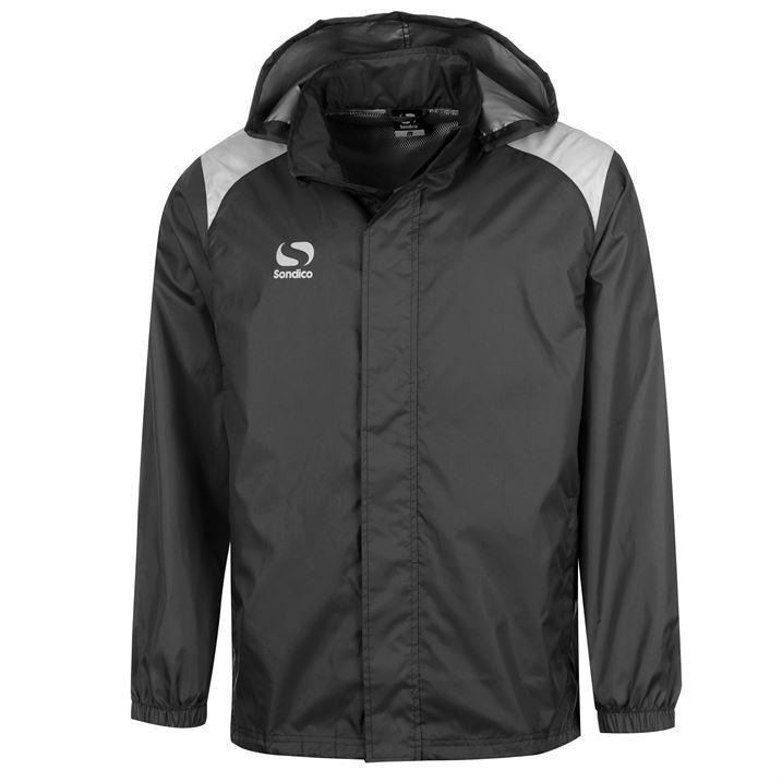 Sondico Mens Rain Jacket Full Hood Zip Breathable Lining Zipped Pockets New
