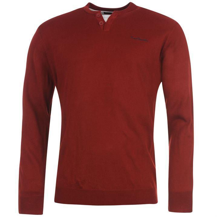 Pierre Cardin Mens Y Neck Knit Jumper Sweater Long Sleeve Top