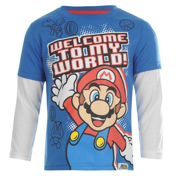 Character Kids Boys Children Long Sleeve Super Mario