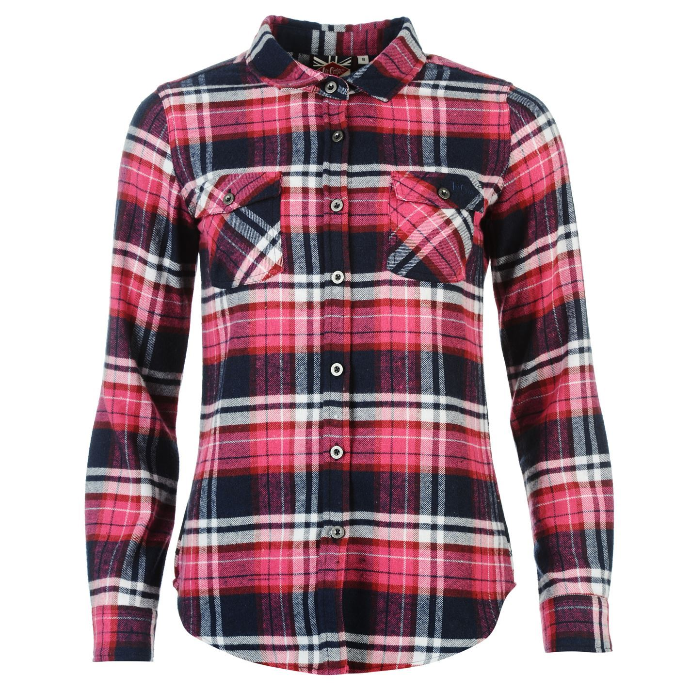 Womens Flannel Shirt - Fashionable / Red / Black / Rectangular Pattern
