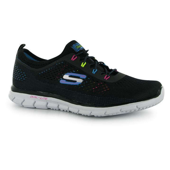 skechers womens glider knit ladies trainers laced dual lite midsole sport shoes ebay. Black Bedroom Furniture Sets. Home Design Ideas