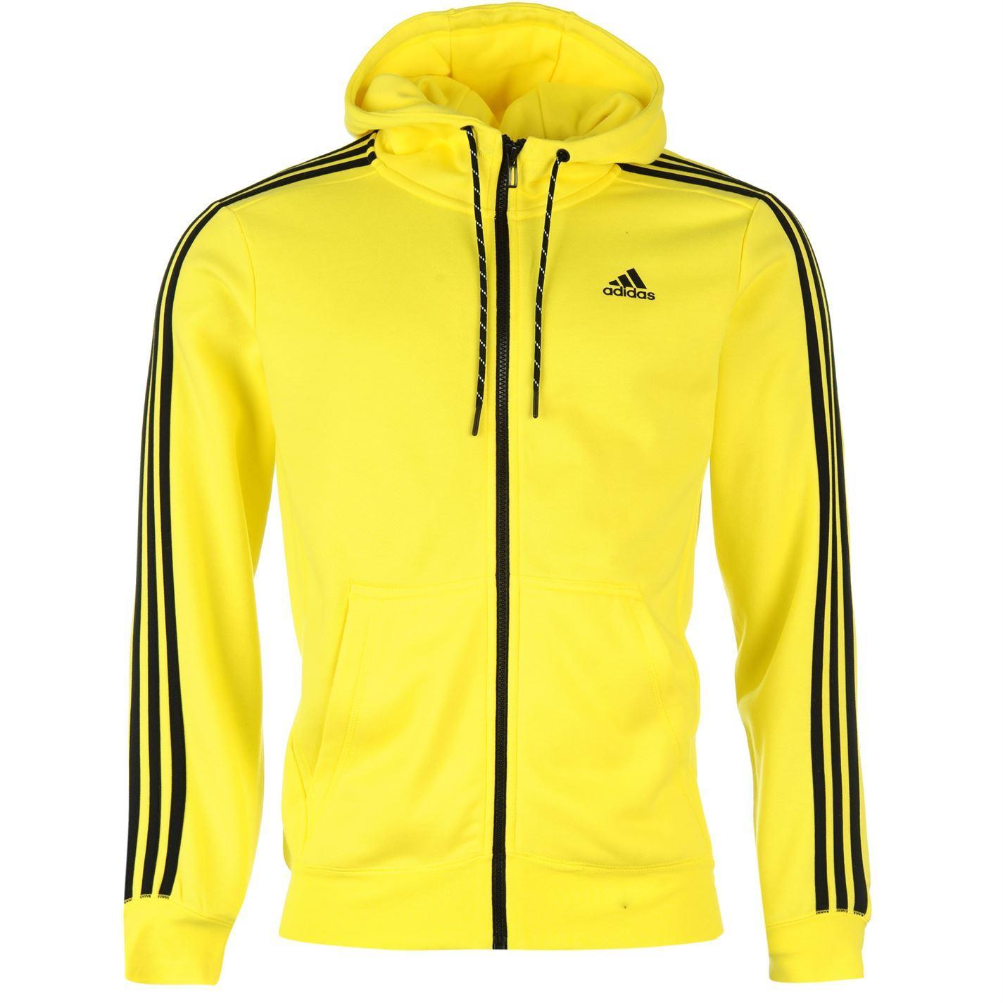 adidas 3 Stripe Full Zip Hoody LS Hooded Hoodie Casual Mens Gents ...