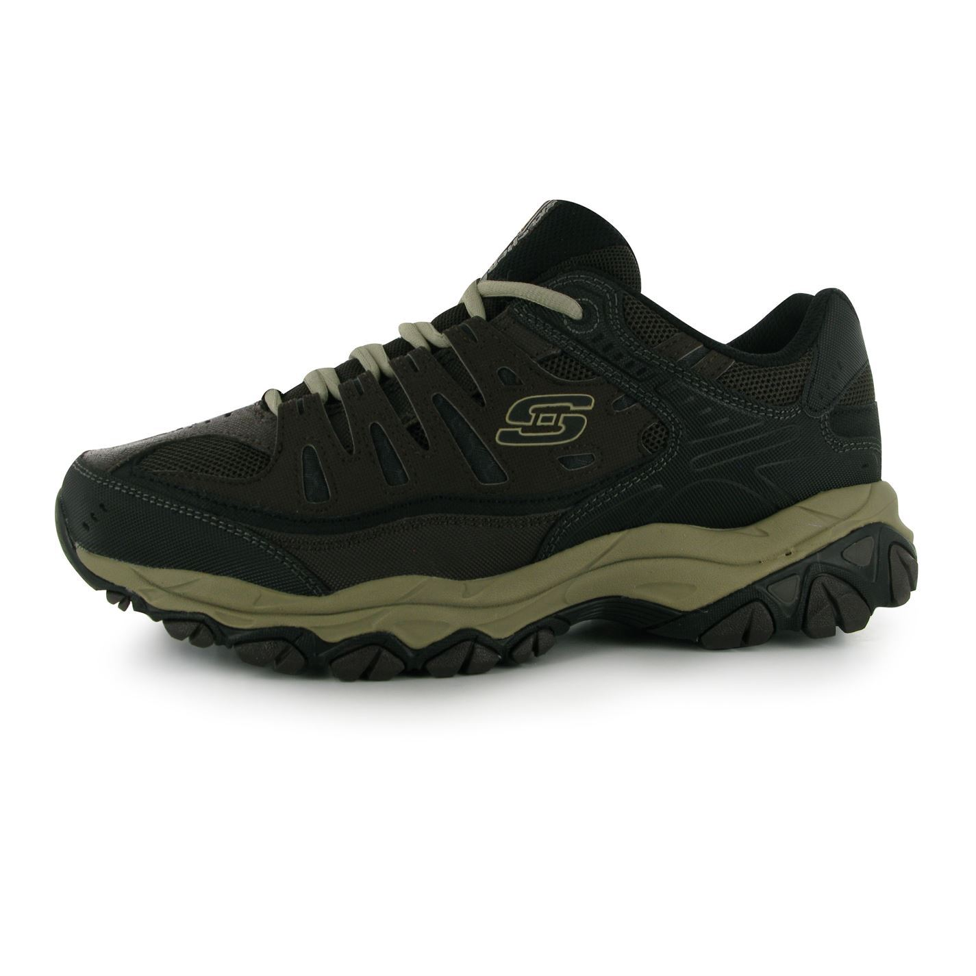 skechers mens after burn trainers lace up memory foam
