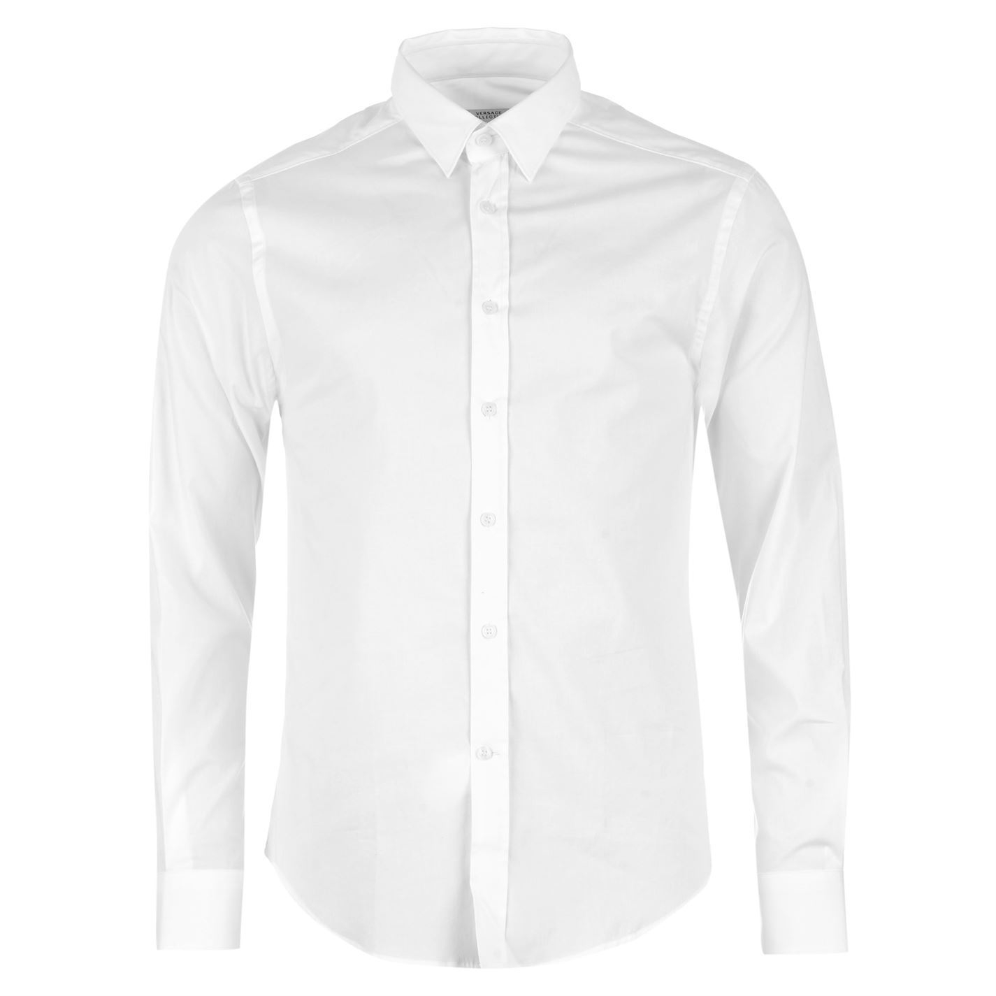 Versace collection mens woven shirt long sleeve cotton for Blue and white versace shirt